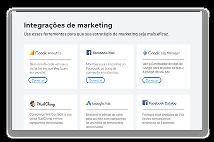 Ícones e descrições de 6 ferramentas de marketing populares