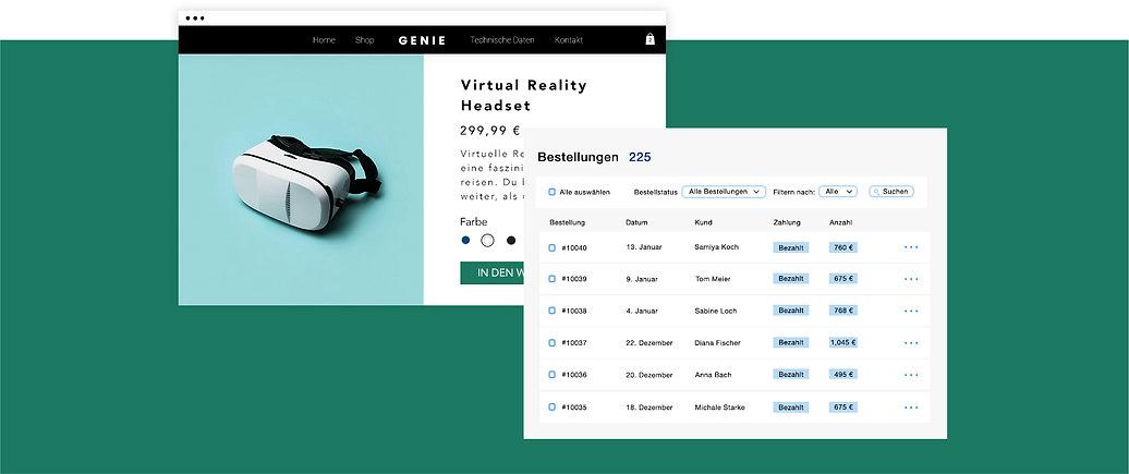 eCommerce-Business für Technik-Zubehör mit einer Produktseite für einem virtual reality headsets und Online-Transaktionstabelle.