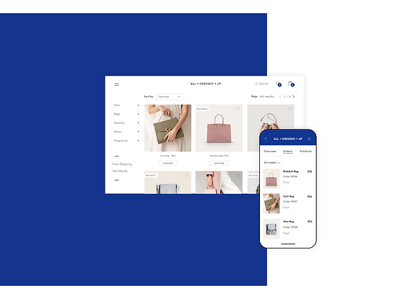 Handbag online store and managing orders from the Wix mobile app