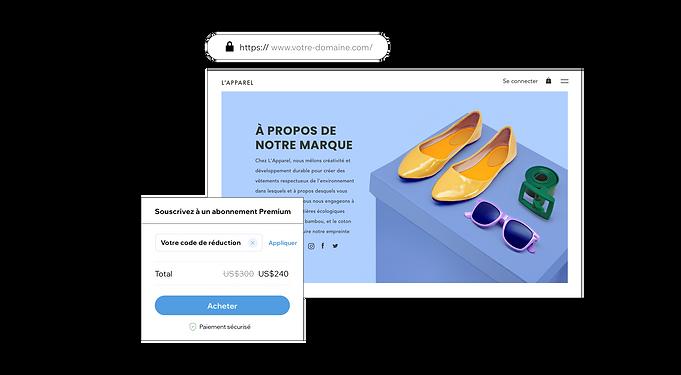 Section À propos d'un site de vente en ligne avec un coupon de réduction pour un abonnement Wix Premium pour les utilisateurs de PayPal et un nom de domaine personnalisable.