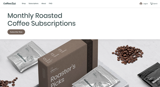 Wix subscription online store template for a coffee business