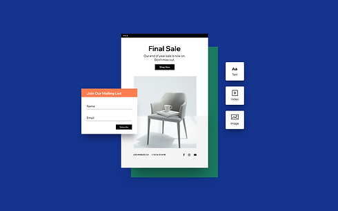 Furniture business that has resized an image for an email