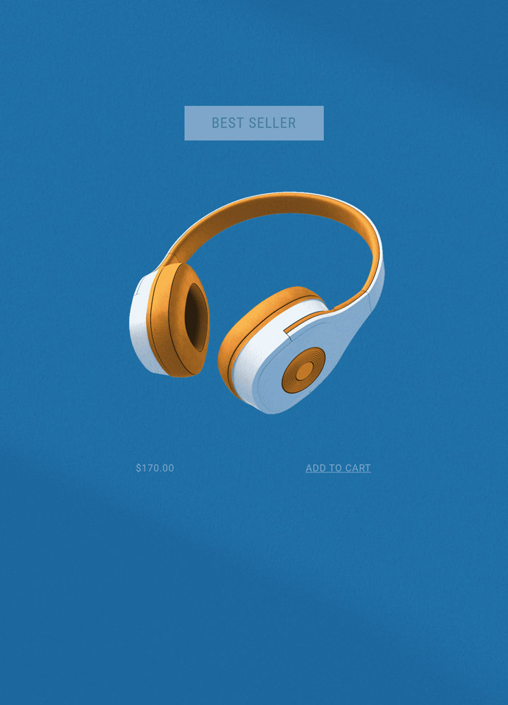 """Orange and white headphones on a Wix eCommerce store, with a """"best seller"""" badge, price and """"Add to Cart"""" button"""