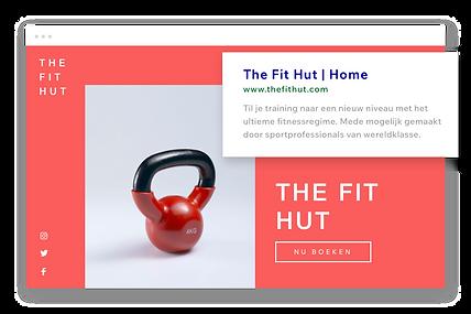 Fitnesswebsite, aangepaste URL en Google-beschrijving.