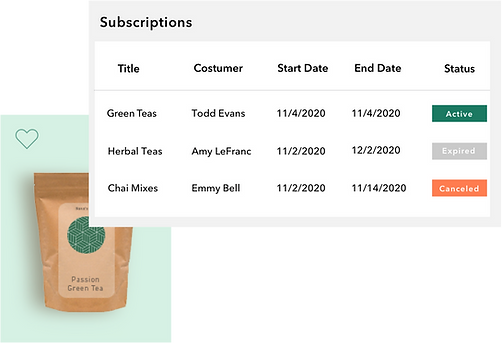 Dashboard managing a Wix online store tea subscription with auto-renew feature
