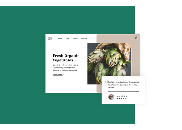 Homepage and review for a vegetable delivery service online storetestimonials copy.png