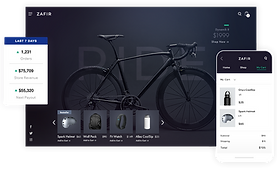Online storefront of a bicycle gear business showing a black mountain bike, 7-day store overview, product gallery and mobile checkout.