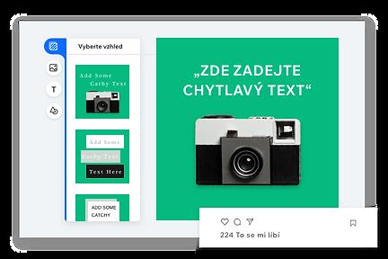Editor pro tvorbu vlastního příspěvku na soc. sítě se zeleným pozadím a starým fotoaparátem.