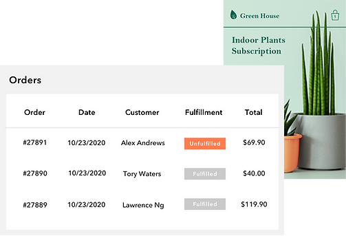 Wix orders dashboard for an online house plants subscription