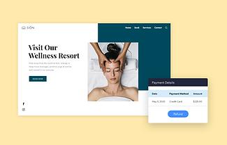 Image d'une page d'accueil d'un site de spa, photo d'une femme qui se fait masser le visage et détails de paiement.