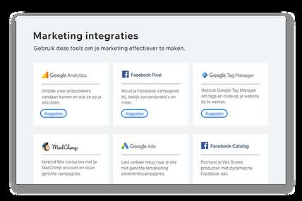 Pictogrammen en beschrijvingen van 6 populaire marketingtools