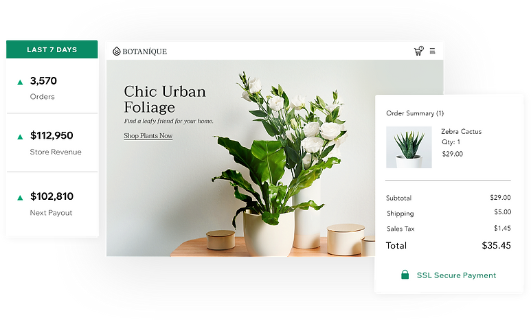 Online plant store named Botanique, displaying storefront with plant and pots, 7-day summary and cart summary.