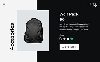 Online store product page for a black, sporty backpack.
