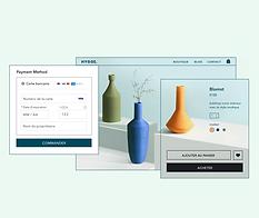 Boutique en ligne de décoration d'intérieur, option de paiement par carte bancaire et page d'article pour un vase orange.