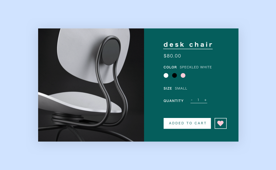 Online store desk chair in product view.