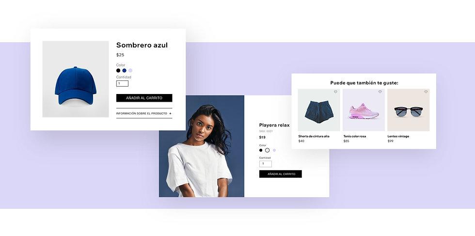 Página de productos de una tienda de ropa en línea con productos recomendados