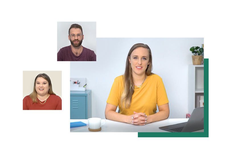 Three course instructors sit at a desk presenting tips about eCommerce marketing.