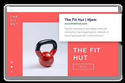 Fitness-hjemmeside, tilpasset URL og Google-beskrivelse.