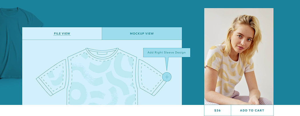 Designing a print on demand t-shirt in mockup view