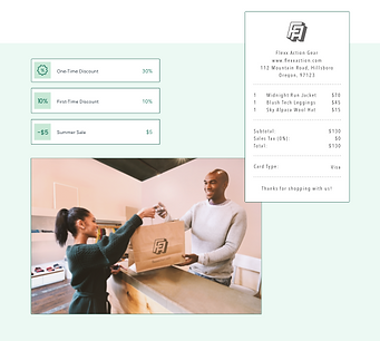 Wix POS checkout of Flexx Action retail store with custom discounts and receipts.
