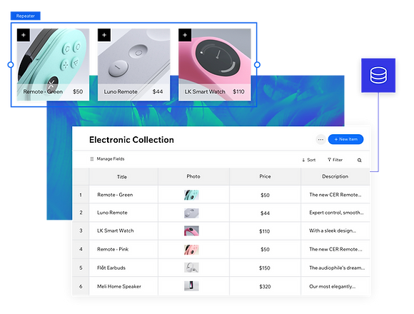 "A screenshot from the Velo platform of the Content Manager showing a collection labeled ""Electronics Collection"" with six items and details listed. Three of the items are magnified in a separate image to emphasize the database: two remotes and a smart watch."