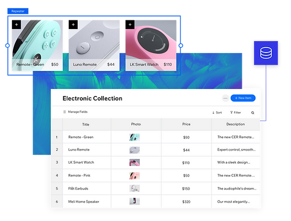 """A screenshot from the Velo platform of the Content Manager showing a collection labeled """"Electronics Collection"""" with six items and details listed. Three of the items are magnified in a separate image to emphasize the database: two remotes and a smart watch."""