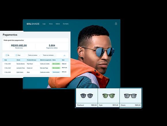 Loja online da marca SolShare que mostra a tabela de pagamento no painel de controle do Wix, vitrine com um homem estiloso e uma galeria de produtos com 3 óculos de sol.