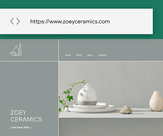 Image of a ceramics store  website with a custom domain