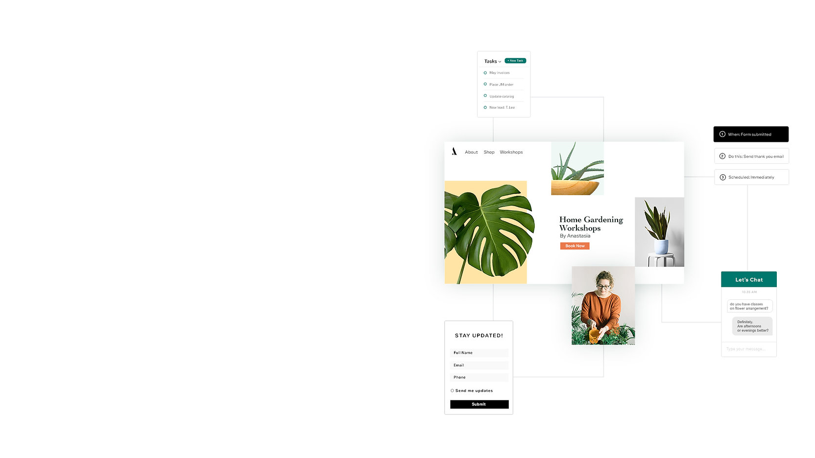İşletmelerini tanıtmak ve yönetmek için Ascend iş araçlarını kullanan bitki ve ekim atölye çalışmaları satan web sitesi. Online pazarlama ve büyüme için otomasyonlar, sohbet, görevler ve formlar.
