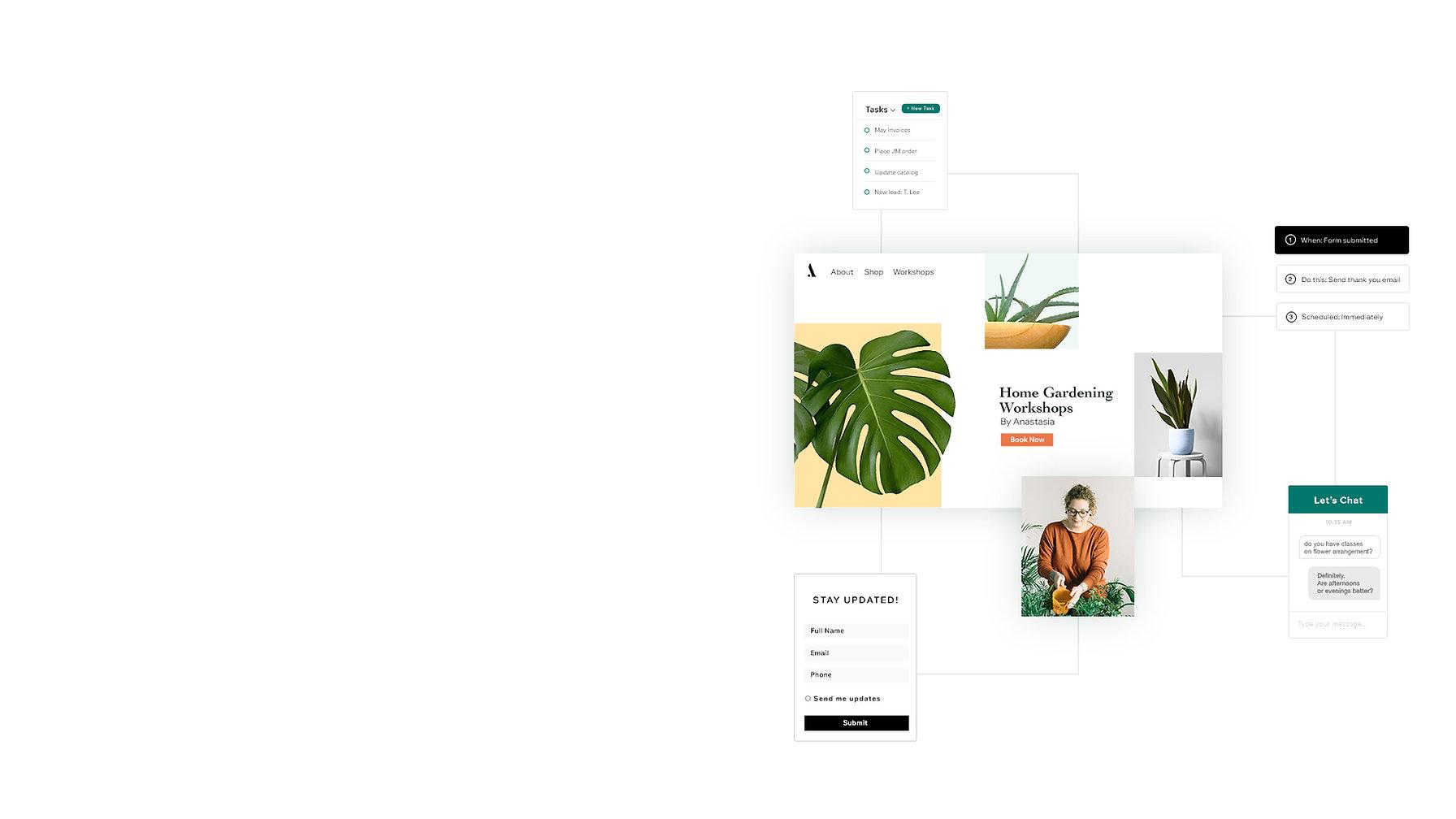 Website die planten en plantworkshops verkoopt met behulp van zakelijke tools van Ascend om hun bedrijf te promoten en te beheren. Inclusief automatiseringen, chat, taken en formulieren om online op de markt te brengen en te groeien.