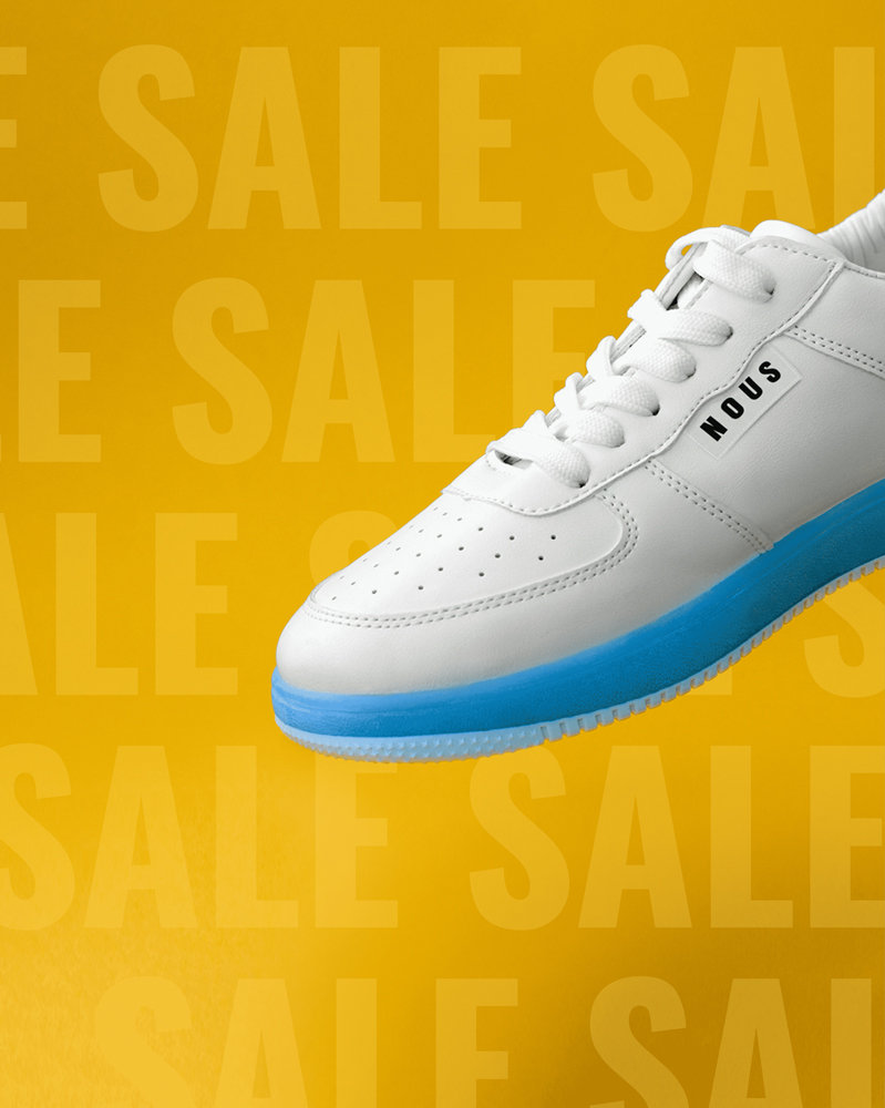 Black Friday sale promotion for white sneakers with a yellow background