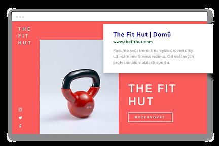 Fitness webové stránky, vlastní URL a popis na Googlu.