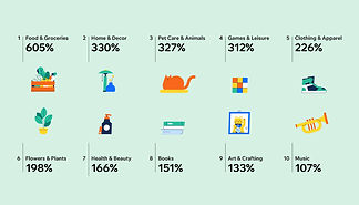 Infographic of 10 top-selling product categories in 2020 and COVID-19, including food & groceries, pet care, clothing, books and more.