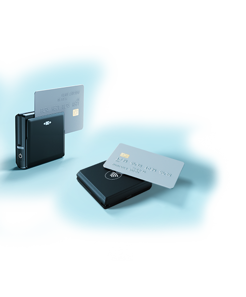 Wix Mobile POS: card reader showing dip, tap, swipe card payments.