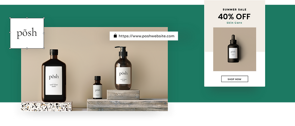 Branding for an online skin care store with a logo, domain and email marketing