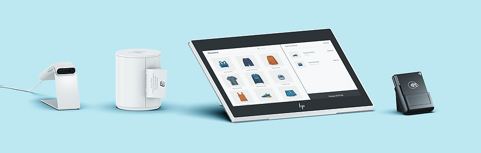 Wix Point of Sale hardware: receipt printer, barcode scanner, tablet and card reader.