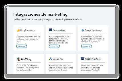 Iconos y descripciones de 6 populares herramientas de marketing