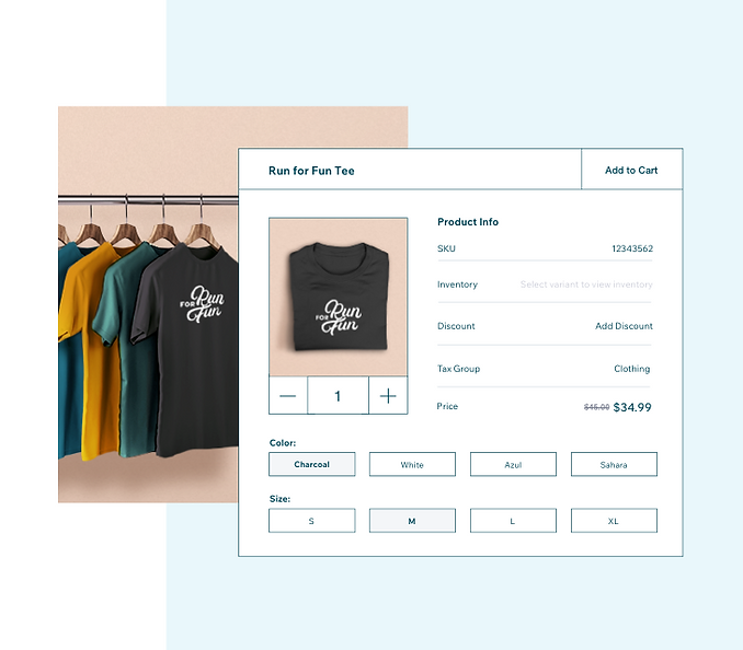 Fully synced inventory management on Wix POS and online store, image of black tee product variants.