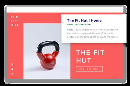 Sito web di fitness, URL personalizzato e descrizione di Google.