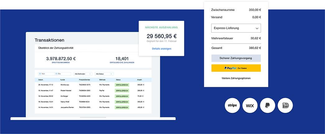 Zahlungsoptionen für eCommerce-Geschäfte mit Transaktionstabelle, sicherer Kaufabwicklung, Zahlungsanbietern und Auszahlungsplan.