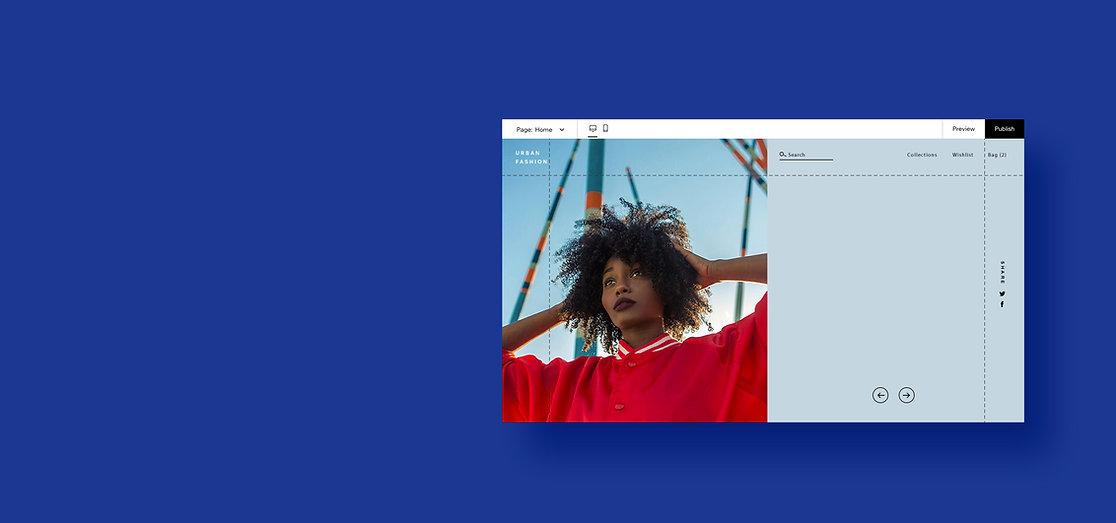 SIte web d'un site de mode en création dans l'éditeur Wix.