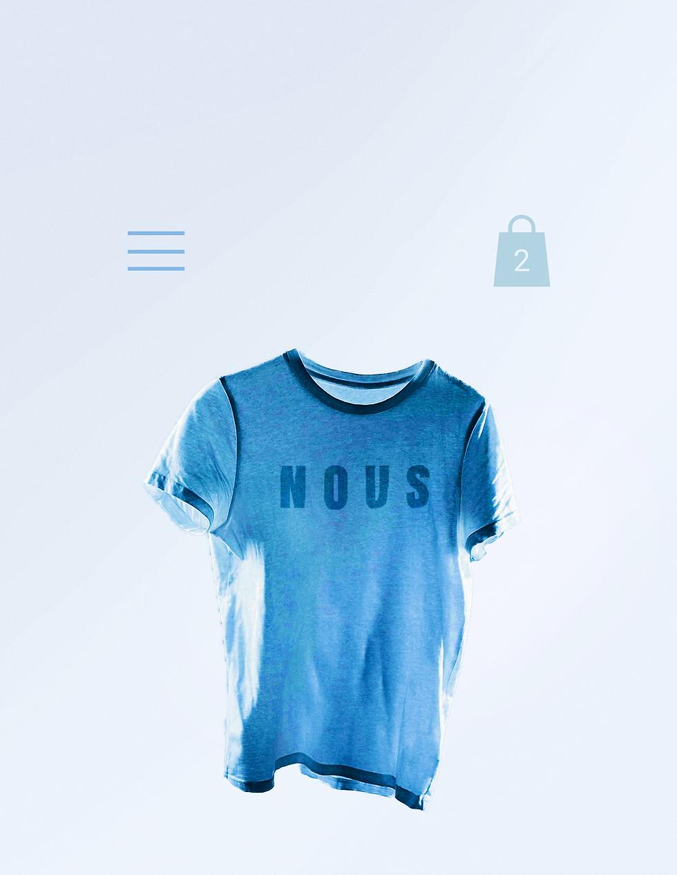 """Playera azul con la palabra """"Nous"""", de venta en una tienda en línea de Wix con un carrito de compra, íconos de menú y un botón de """"ordenar ahora"""""""