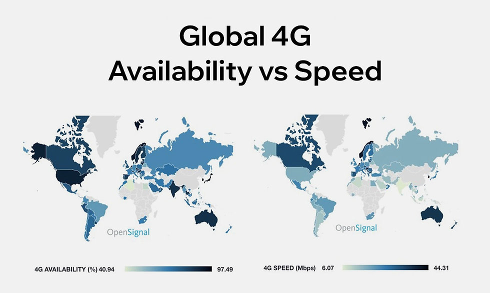 A map showing the availability of 4g networks around the world.