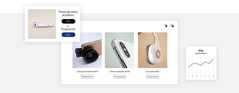 Productos de dropshipping que incluyen accesorios para móviles y una calculadora de ganancias
