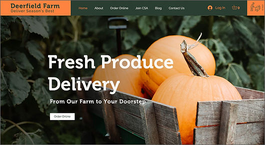 Wix subscription online store template for a produce farm