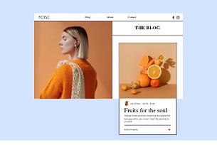 Website featuring a post about how to optimize your blog, also shown is a portrait of a woman in orange and artistic photo of citrus fruits