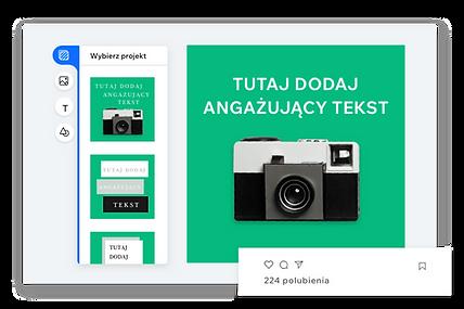 Edytor do tworzenia własnego posta społecznościowego z zielonym tłem i zabytkowym aparatem
