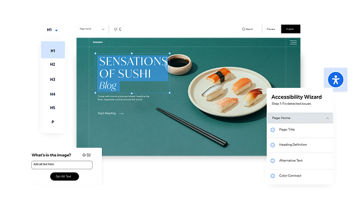 Sushi website using the Accessibility Wizard in the Editor