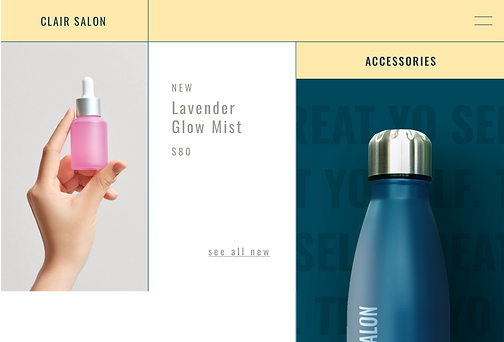 Salon website selling print on demand water bottles with their logo