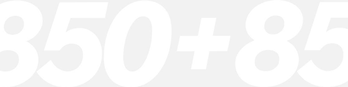 Bande de typographie en mouvement qui montre le chiffre 850+, ce qui represente le nombre de nouvelles fonctionnalités créées par Wix en 2020.